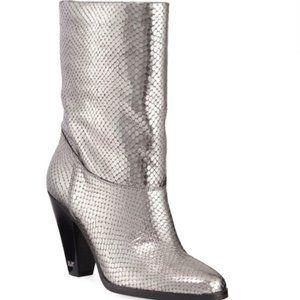 Michael Kors Metallic Silver Leather Divia Boots